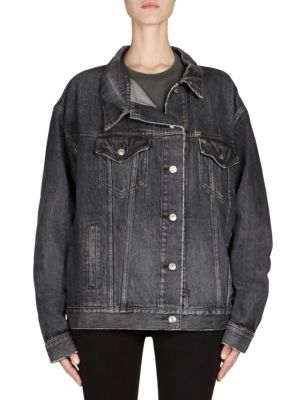 Like A Man Oversized Embossed Denim Jacket, Vintage Black