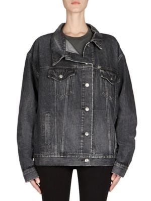 Like A Man Oversized Embossed Denim Jacket in White