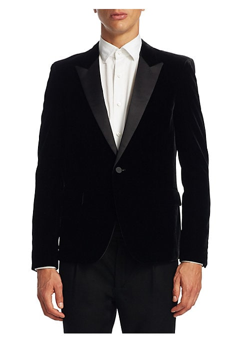 """Image of From the Saks IT LIST. THE JACKET. The wear everywhere layer that instantly dresses you up.A beautifully elegant tuxedo jacket in a trendy slim fit. Peak lapels. Long sleeves. Buttoned cuffs. Button front. About 29"""" from shoulder to hem. Viscose/polyester"""