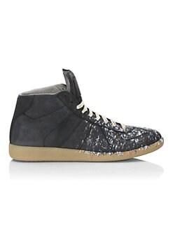 338624919e High Top. Maison Margiela - Paint Splatter Leather Sneakers