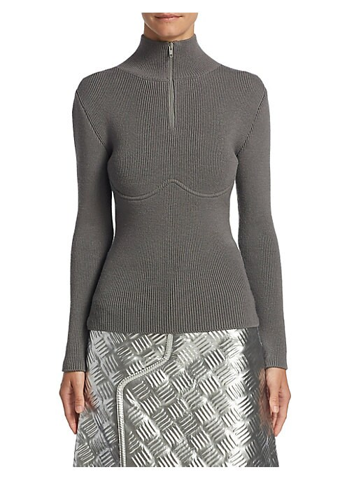 """Image of Allover ribbed design elevates this wool-blend top. Turtleneck. Long sleeves. Exposed front zip. About 23"""" from shoulder to hem. Virgin wool/polyamide. Dry clean. Imported. Model shown is 5'10"""" (177cm) wearing US size 4."""