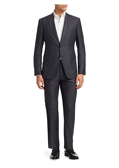 Image of Dashing wool-blend suit features a single-breasted jacket and a pair of straight leg pants in a modern fit. Wool/silk/elastane. Dry clean. Imported. JACKET:.Notched lapels. Front two-button closure. Long sleeves with buttons on cuffs. Chest welt pocket. W