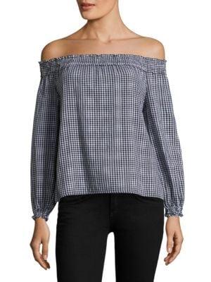 Drew Plaid Cotton Off-The-Shoulder Top by rag & bone/JEAN