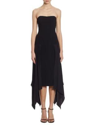 Elsa Drapey Crepe Strapless Dress by Cinq à Sept