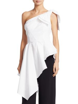 Asymmetric Cotton Blouse by Carolina Herrera