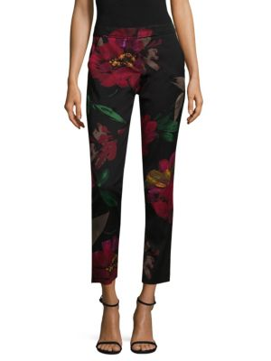 "Image of Textured pants with floral-print detail. Banded waist. Zip fly with concealed front closure. Side slit pockets. Back welt pockets. Inseam, about 28"" - 30"".Rayon/cotton/spandex. Dry clean. Imported. Model shown is 5'10"" (177cm) wearing US size 4."