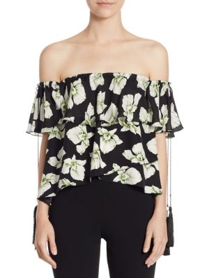 Kahlia Wales Silk Floral Off-The-Shoulder Top by
