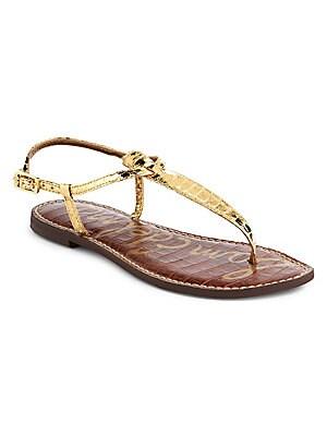 fa4ecdbeb6ac Sam Edelman - Gigi Rose Gold Boa Snake Print Leather Thong Sandals ...