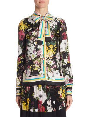 Floral-Print Silk Tie-Neck Blouse by Dolce & Gabbana