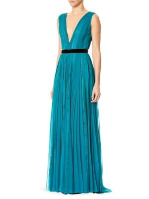 "Image of Pleated silk chiffon gown with lace insets. Deep V-neck. Sleeveless. Concealed back zip. About 60"" from shoulder to hem. Silk. Dry clean. Imported. Model shown is 5'10"" (177cm) wearing US size 2."