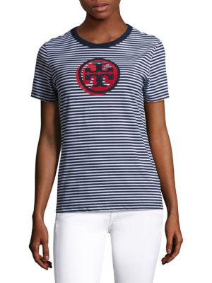 Bria Logo Cotton Tee by Tory Burch