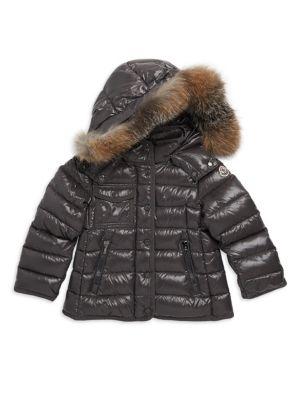 4996790cd Little Girl's & Girl's Armoise Fur-Trim Lacquered Jacket
