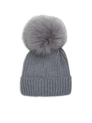 Kids Fox Fur PomPom  Virgin Wool Cap