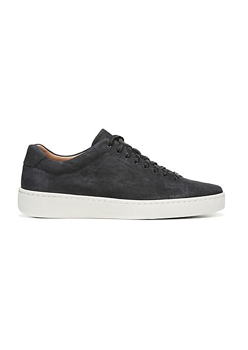 Image of Soft nubuck low-top sneaker on lightweight rubber sole. Leather upper. Round toe. Lace-up vamp. Leather lining. EVA rubber sole. Imported.