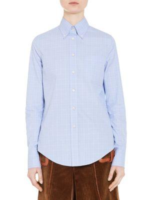 Plaid Cotton Button-Down Shirt by Prada