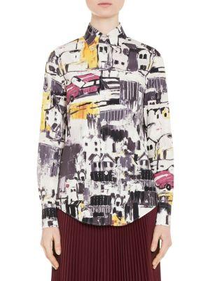 Car-Print Poplin Shirt by Prada