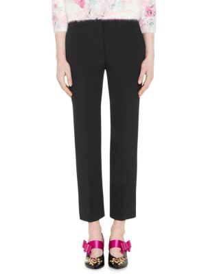 """Image of Streamlined straight-cut ankle pant with notch detail. Zip fly with hook-and-bar closure. Side slash pockets. Back welt pockets. Rise, about 9"""".Inseam, about 28"""".Polyester/elastane. Dry clean. Made in Italy. The model is 5'10"""" and is wearing US size 4."""