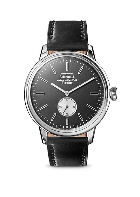 """Image of Analog wristwatch featuring forest green dial. Shinola argonite quartz movement. Water resistant to 5 ATM. Round polished stainless steel case, 42mm (1.7"""").Fixed bezel. Black dial. Subdial at 6 o'clock. Black USA cordovan strap. Deployant buckle. Assemble"""