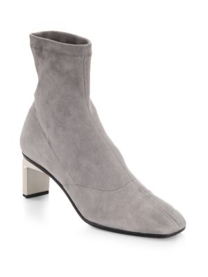 "Image of Ankle boots constructed from soft suede material. Covered heel, 2.25"" (60mm).Suede upper. Square toe. Slip-on style. Leather lining and sole. Made in Italy."