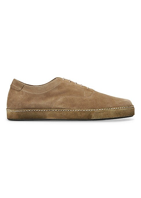 Image of Brushed suede lace-up sneaker with tonal rubber sole. Suede upper. Round toe. Lace-up vamp. Leather lining. Rubber sole. Padded insole. Made in Italy.