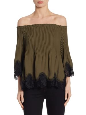 Samantha Lace Trim Off-The-Shoulder Top by Delfi Collective