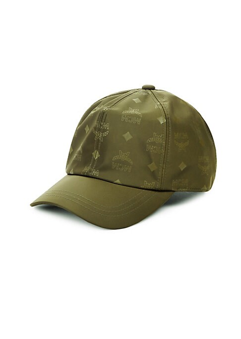 Image of .Nylon baseball cap with allover logo print. .Nylon. .Imported. .