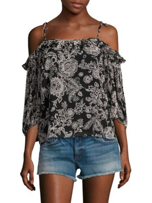 "Image of Allover ethnic print elevates this cold-shoulder top. Self-tie tank straps. Cold-shoulders. Three-quarter sleeves with gathered cuffs. Lined. About 24"" from shoulder to hem. Polyester. Dry clean. Imported. Model shown is 5'10"" (177cm) wearing size Small."