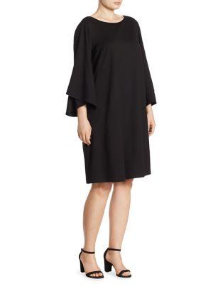 Fabiana Jewel Neck Bell Sleeve Dress