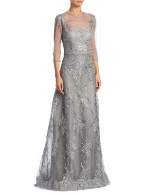 494f78bec24a4 Teri Jon By Rickie Freeman Lace Illusion Evening Gown In Silver ...