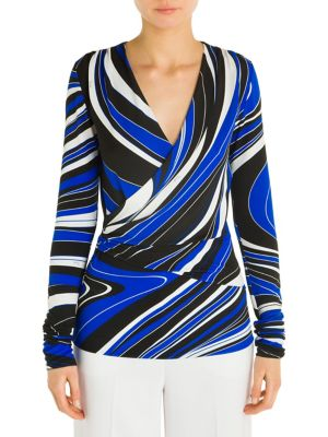 Faux Wrap Print Top by Emilio Pucci