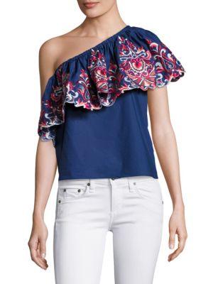 Reba One-Shoulder Cotton Top by Parker