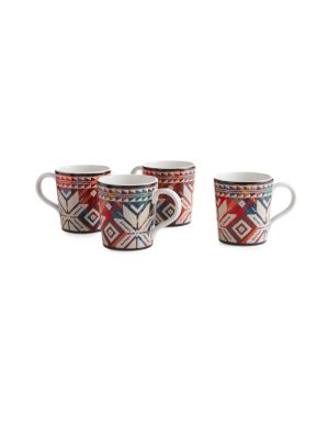 "Image of From the Baldwin Collection. These festive stoneware mug set draws inspiration from Ralph Lauren's classic plaid shirts and Nordic sweaters. Set of four.4""W x 4.25""H x 4""D.12 oz. Stoneware. Dishwasher and microwave safe. Imported."