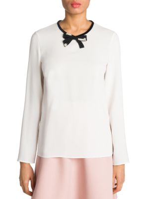 Embellished Bow Top by Miu Miu