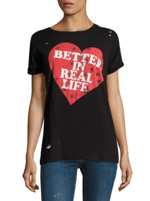 Better in Real Life Destroyed Tee by Wildfox