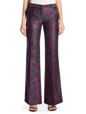 "Image of Metallic paisley-jacquard pant with retro-chic flared hem. Belt loops. Zip fly with button closure. Side slash pockets. Rise, about 9"".Inseam, about 30"".Polyester/metallic. Dry clean. Made in Italy. Model shown is 5'10"" (177cm) wearing US size 4."
