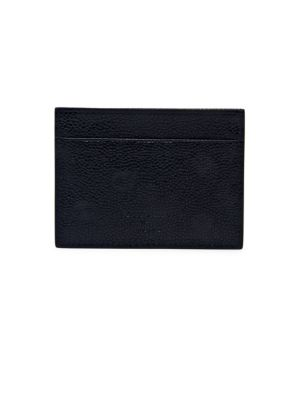 "Image of Textured credit card holder shaped from fine leather. Three exterior front credit card slots. One exterior back credit card slot.4""W x 3"" H.Leather. Made in Italy."