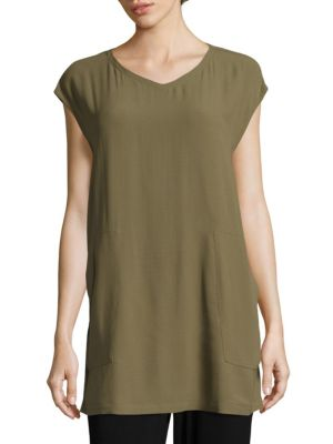 Solid V-Neck Tunic by Eileen Fisher