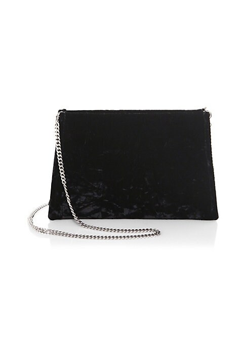 """Image of .Textured shoulder bag with metallic chain strap. .Removable chain strap. .Polyester lining. .10""""W x 7""""H x 1""""D. .Viscose-rayon/cupro. .Made in Italy. ."""