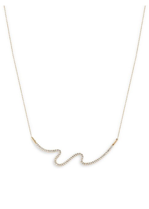"""Image of From the Brushstroke Collection. Statement abstract swash with luminous pave diamonds. Diamonds, 0.95 tcw.18K yellow gold. Length, 16"""".Lobster clasp. Made in USA."""