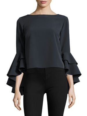 Italian Cady Annie Bell Sleeves Top by MILLY
