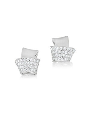 "Image of From the Knot Collection. Architectural knot stud with sparkling pavé fold. Diamonds, 0.42 tcw Diamond clarity, VS Diamond color, G-H 18K white gold Post back Made in USA SIZE Width, about 0.375"". Fine Jewelry - Fine Designer Jewelry C > Saks Fifth Avenue"