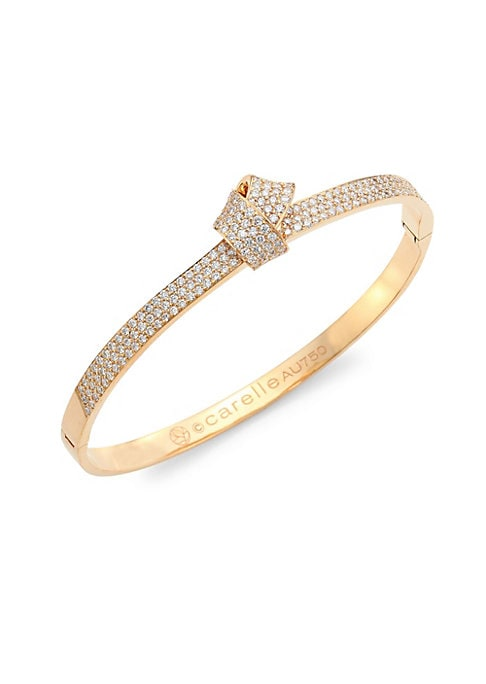 Image of Folds of sumptuous 18k rose gold burst with rows of sparkling pave diamond. Elegant in its simplicity, this ultra-luxe bangle presents a graceful silhouette that is visually stunning. From the Knot Collection. Diamonds, 1.03 tcw.18K rose gold. Diameter, 2