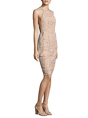 """Image of Midi polyester-blend dress featuring lace pattern and back slit Halterneck Sleeveless Concealed back zip About 42"""" from shoulder to hem Polyester/spandex Hand wash Imported Model shown is 5'10"""" (177cm) wearing size Small. Contemporary Sp - Trend. Airlie."""