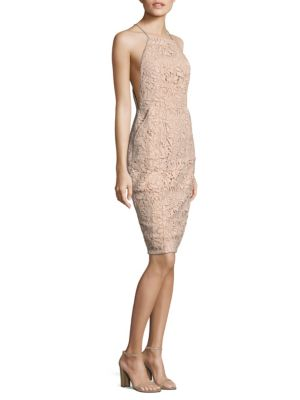 "Image of Midi polyester-blend dress featuring lace pattern and back slit. Halterneck. Sleeveless. Concealed back zip. About 42"" from shoulder to hem. Polyester/spandex. Hand wash. Imported. Model shown is 5'10"" (177cm) wearing size Small."