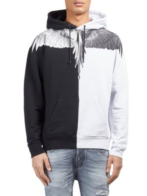 Image of Colorblocked cotton hoodie with graphic at yoke. Attached hood with drawstring. Long sleeves. Front graphic. Kangaroo pocket. Banded cuffs and hem. Regular-fit. Cotton. Machine wash. Imported.