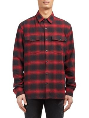 Image of .Cotton button-down shirt with plaid and graphic design. Long sleeves. Buttoned barrel cuffs. Button front. Regular-fit. Cotton. Machine wash. Imported.