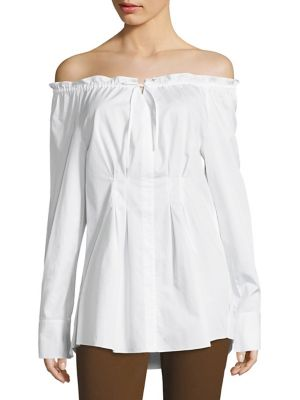 Satin Poplin Off-the-Shoulder Shirt by Tibi