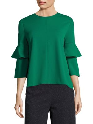 Crepe Bell Sleeve Top by Tibi