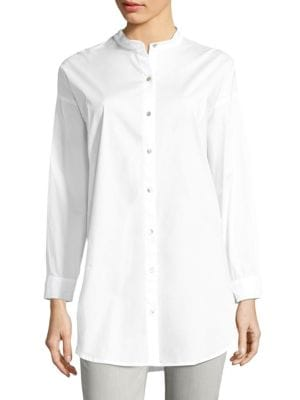 Solid Cotton Button-Up Shirt by Eileen Fisher