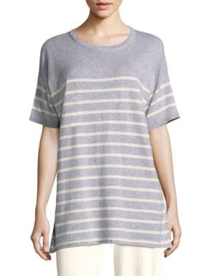 1/2-Sleeve Striped Organic Peruvian Cotton Tunic, Grey